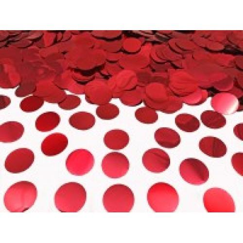 Конфетти кружочки красные металлик (23мм) 50гр