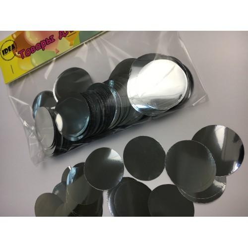 Конфетти кружочки серебряные (35мм) 50гр