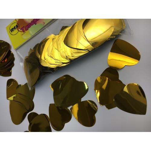 Конфетти сердечки золотые большие 50гр