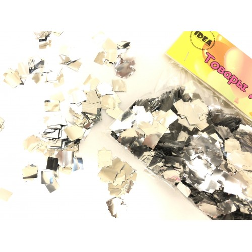 Конфетти квадратики серебряные (5-8мм) 50гр