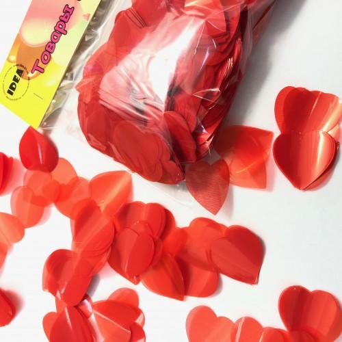 Конфетти сердечки красные маленькие 50гр (2,5см)