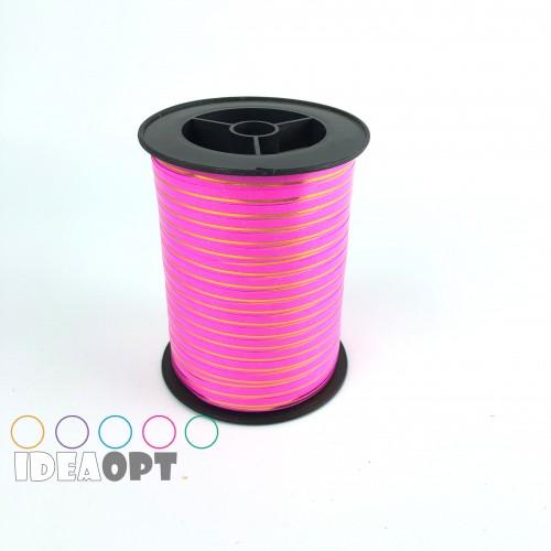 Лента для шариков (230м) ярко-розовая с золотой полосой (Польша)