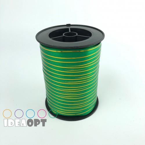 Лента для шариков (230м) зеленая с золотой полосой (Польша)