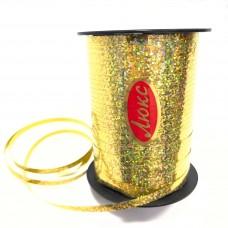 Лента для шариков золотая голография 150м ЛЮКС