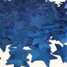 Конфетти звездочки синие металлик МИНИ (2см) 50гр