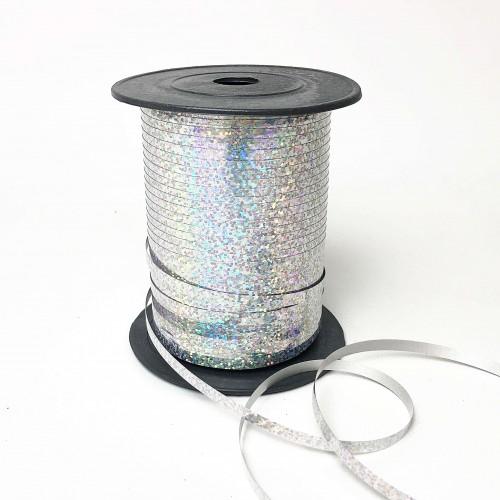 Лента для шариков серебро голография 150м ЛЮКС