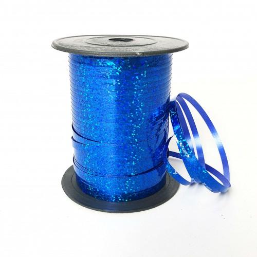 Лента для шариков синяя голография 150м ЛЮКС