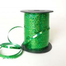 Лента для шариков зеленая голография 150м ЛЮКС