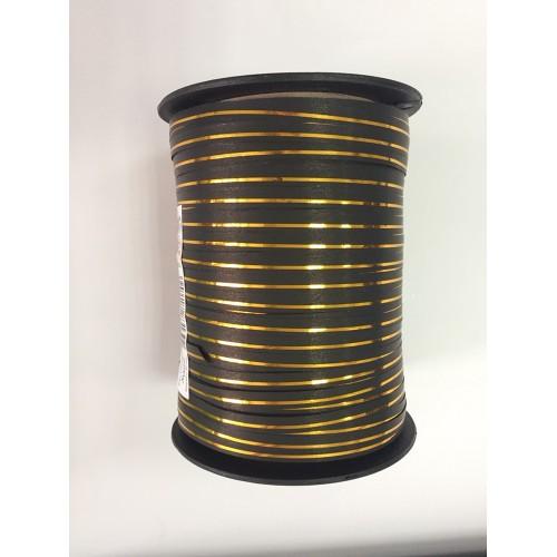 Лента для шариков (230м) черная с золотой полосой (Польша)