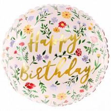 """18"""" (35см) Шар Happy Birthday, светло розов УП 35 см (PartyDeco)"""