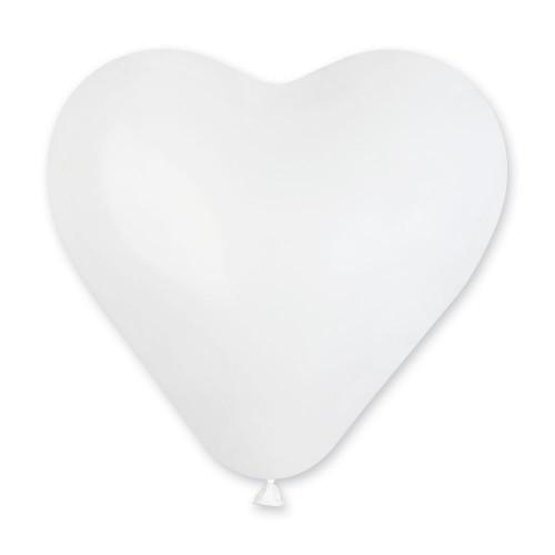 """G 10"""" (25см) Сердца пастель белые (100шт)"""