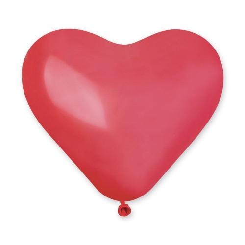 """G 10"""" (25см) Сердца красные пастель 05 (100шт)"""