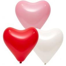 """12"""" (30см) Серце асорті з червоного/біл/рож (50шт) Everts"""