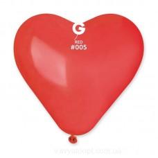 """17"""" (44см) Серця червоні пастель 05 (50шт) Gemar (Італія)"""