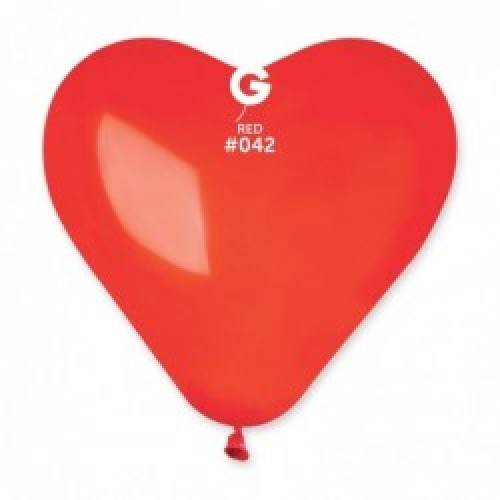"""G 16"""" (40см) Сердца красные кристал 42 (50шт)"""
