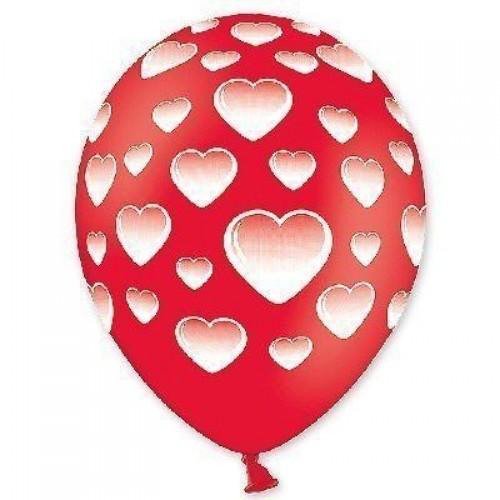 """14"""" (36см) шар с рисунком шелкография пастель сердца (25шт)"""