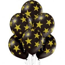 """14"""" (36см) черные шары с рисунком золотые звезды (25шт)"""