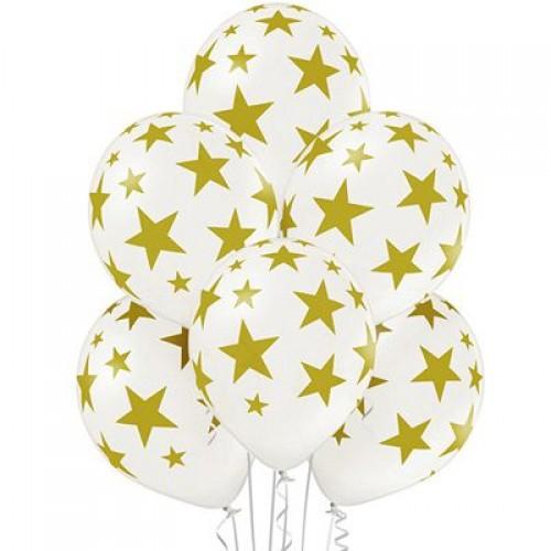 """14"""" (36см) белые шары с рисунком золотые звезды (25шт)"""