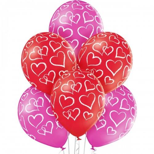 """14"""" (36см) шар с рисунком шелкография сердца мелом (25шт)"""