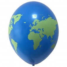 "14 ""(36см) Латексна куля з малюнком планета ЗЕМЛЯ Belbal (Бельгія) (25шт)"