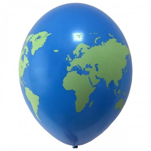 """14"""" (36см) Латексный шар с рис планета ЗЕМЛЯ Belbal (Бельгия) (25шт)"""
