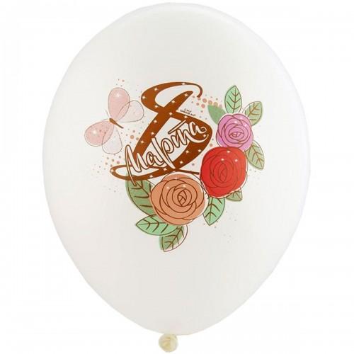 """14 """"(36см) Куля латексний з рисунком 8 Марта Троянди 5 кольорів (25шт)"""