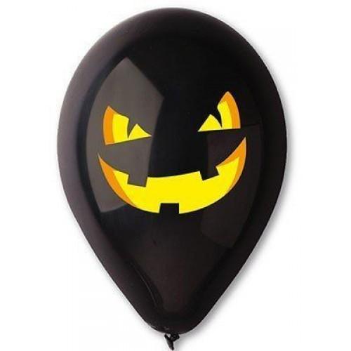 """Gemar 12""""(30см) с рисунком тыква черная (50шт) хеллоуин"""