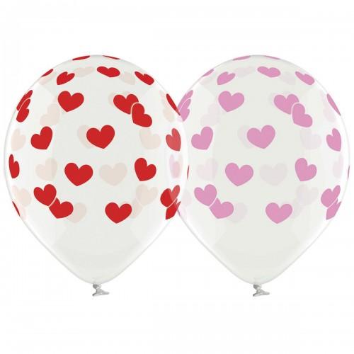 """14 """"(36см) Куля з малюнком серця великі рожеві і червоні (25шт)"""