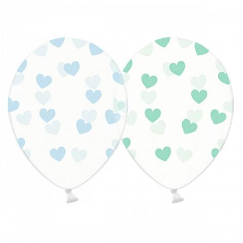 """14"""" (36см) шары с рисунком сердца большие голуб и мятные кристалл (25шт)"""
