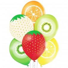 """14"""" (36см) шары с рисунком фрукты ассорти  (50шт)"""
