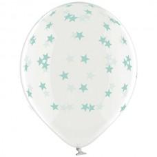 """14"""" (36см) шары с рисунком звезды маленькие мятные кристалл (25шт)"""