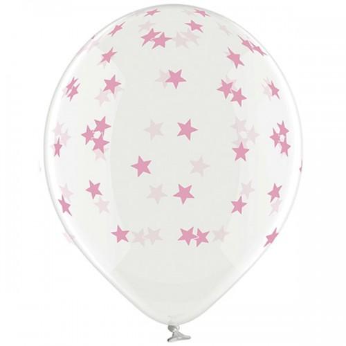 """14"""" (36см) шары с рисунком звезды маленькие розовые кристалл (25шт)"""