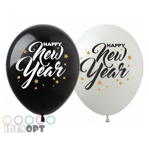 """12"""" (30см) New Year черн бел (100шт)"""
