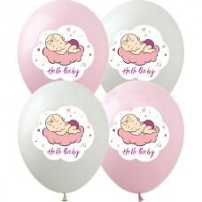 """12"""" (30см)  Hello,baby девочка (розов,бел, прозр)  (25шт)"""