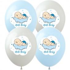 "12"" (30см)  Hello,baby мальчик (голуб,бел, прозр)  (25шт)"
