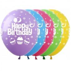 """12"""" (30см) Happy Birthday кексики 5ст (25шт)"""