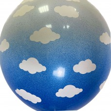 """12"""" (30см) омбре облака бело-синие (1 шар)"""