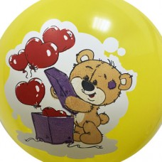 """12"""" (30см) мишка сердечко желтый (печать на BelBal) 1 шар"""