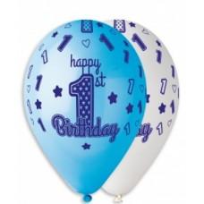 """12"""" (30см) HAPPY BIRTHDAY, 1 год мальчик (25шт)"""