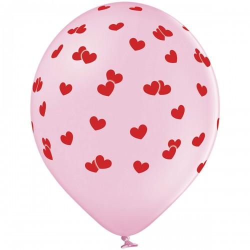 """14"""" (36см) шары с рисунком сердца маленькие красные (25шт)"""