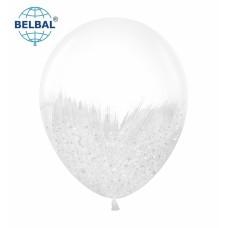 """ММ 12"""" (30см) Браш белый блеск на прозрачном (1шт) BelBal"""