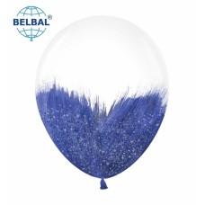 "ММ 12"" (30см) Браш синий блеск на прозрачном (1шт) BelBal"