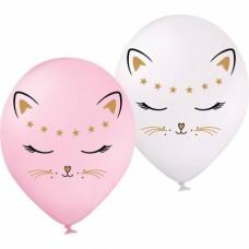 """ММ 12"""" (30см) Кошечка белая и розовая (50 шт 1ст) BelBal"""