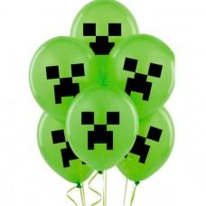 "12"" (30см) шары с риcунком Майнкрафт (25шт)"