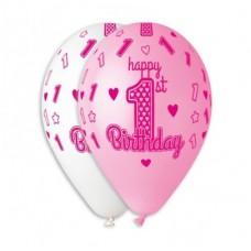 """12"""" (30см) HAPPY BIRTHDAY, 1 год девочка (25шт)"""